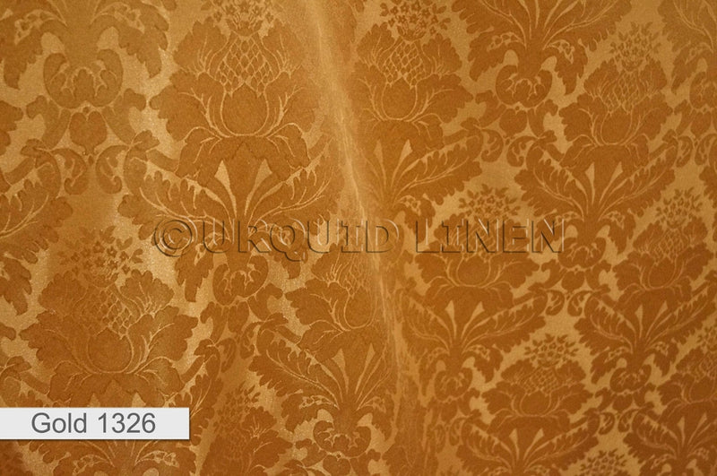 "3pcs - Damask Poly - 8' Tall + 4"" Pocket - Gold"