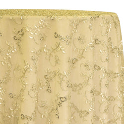 Basil Leaf Embroidery Table Linen in Gold