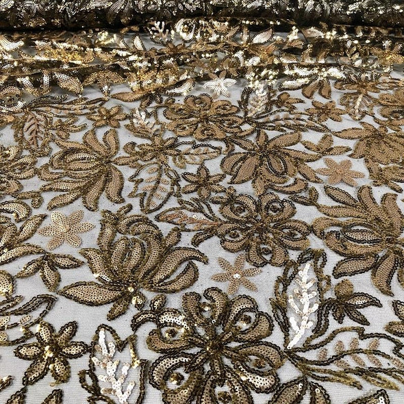Starlight Sequins Wholesale Fabric in  Gold