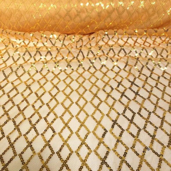 Vortex Sequins Wholesale Fabric in Gold