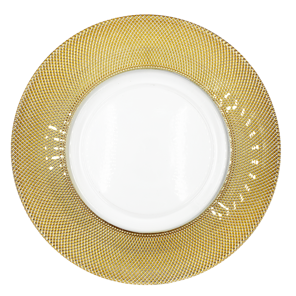 Dotted - Glass Charger Plate in Gold