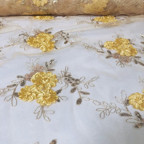Ribbon Mesh Lace Table Runner in Gold