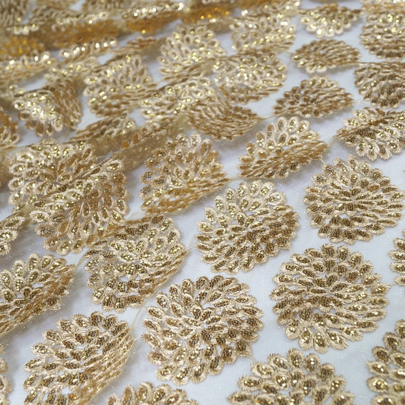 Dahlia Sequins Wholesale Fabric in Gold