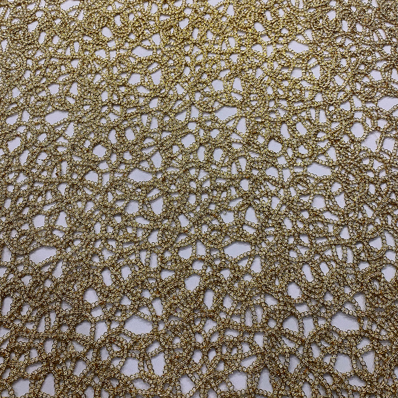 Swirl Chain Lace Wholesale Fabric in Gold