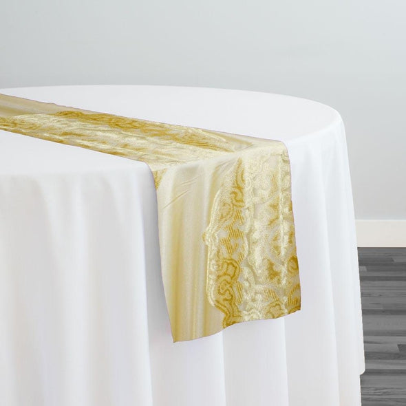Medallion Jacquard Sheer Table Runner in Gold