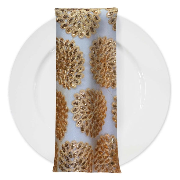 Dahlia Sequins (w/ Poly Lining) Table Napkin in Gold