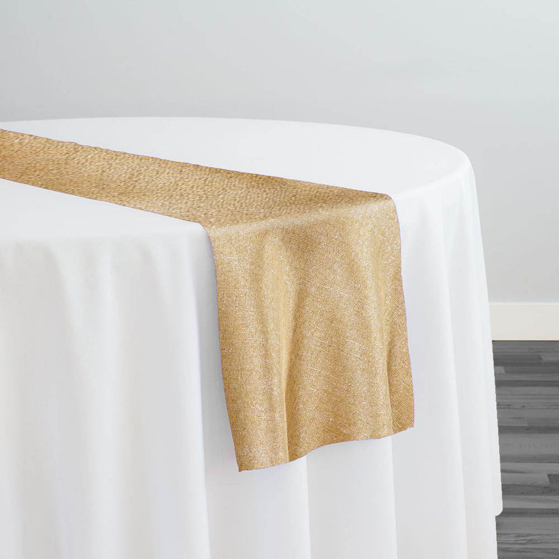 Metallic Burlap (100% Polyester) Table Runner in Gold