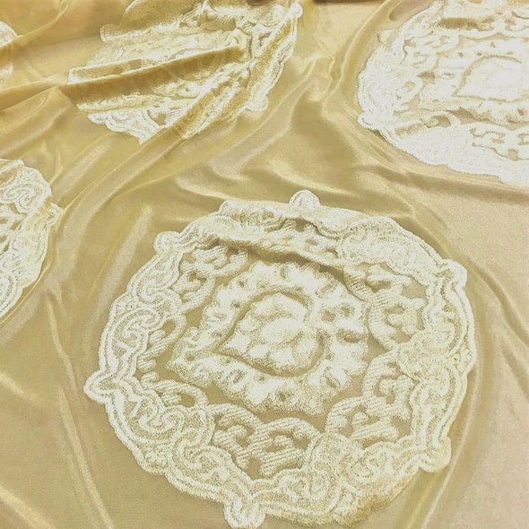 Medallion Jacquard Sheer Wholesale Fabric in Gold