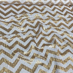 Chevron Glitz Sequins Table Linen in Gold