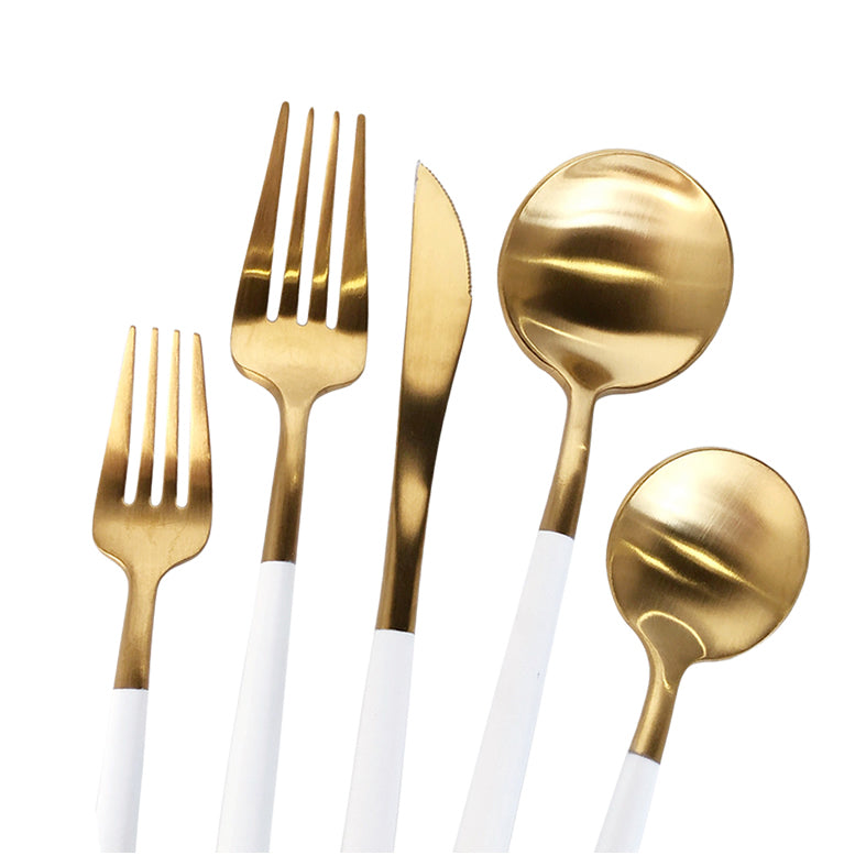 Luna Modero - Flatware/Cutlery Set in Gold/White