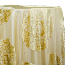 Medallion Jacquard Sheer Table Linen in Gold