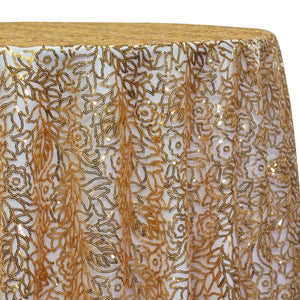 Fiori Leaf Sequins Table Linen in Gold