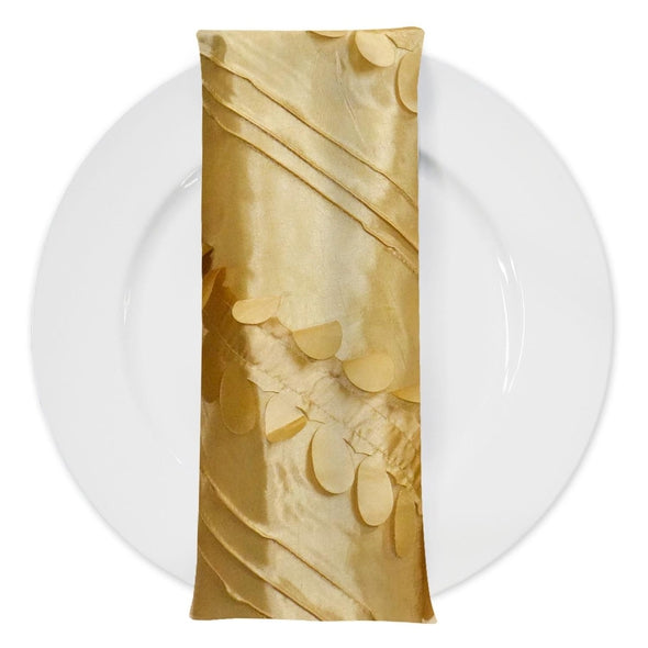Diagonal Taffeta Table Napkin in Gold