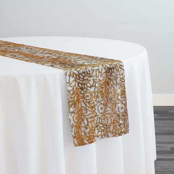 Fiori Leaf Sequins Table Runner in Gold