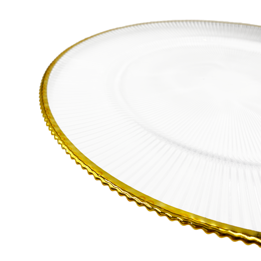 Ribbed Halo - Glass Charger Plate in Gold