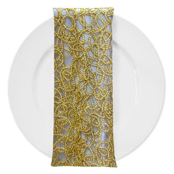Swirl Chain Lace (w/ Poly Lining) Table Napkin in Gold