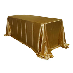 "Economy Shiny Satin 90""x132"" Rectangular Tablecloth - Gold"