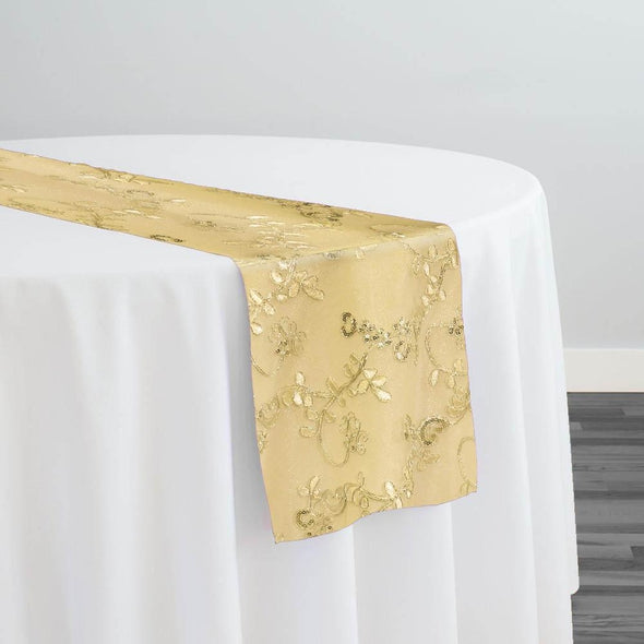 Basil Leaf Embroidery Table Runner in Gold