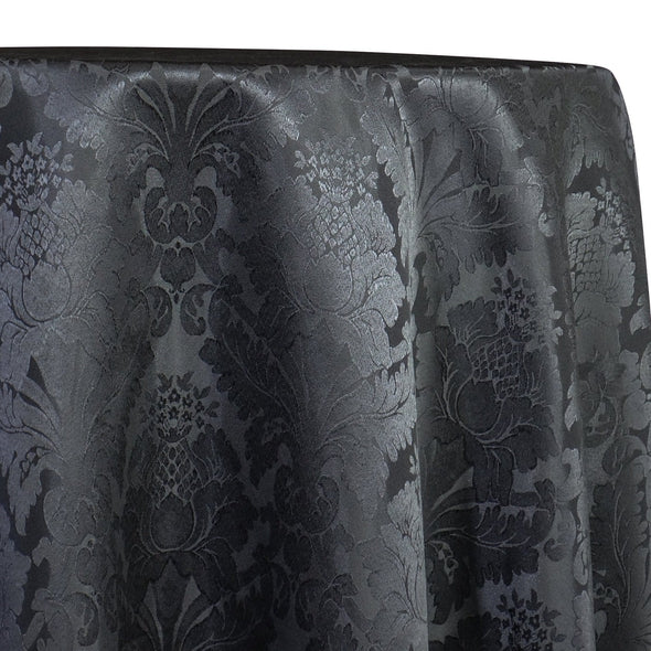 Damask Poly Table Linen in Gray 7312