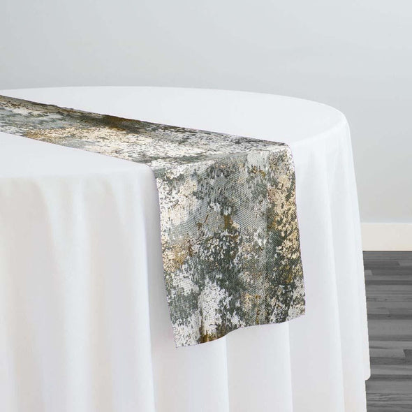 Cascade Jacquard Table Runner in Gray and Gold