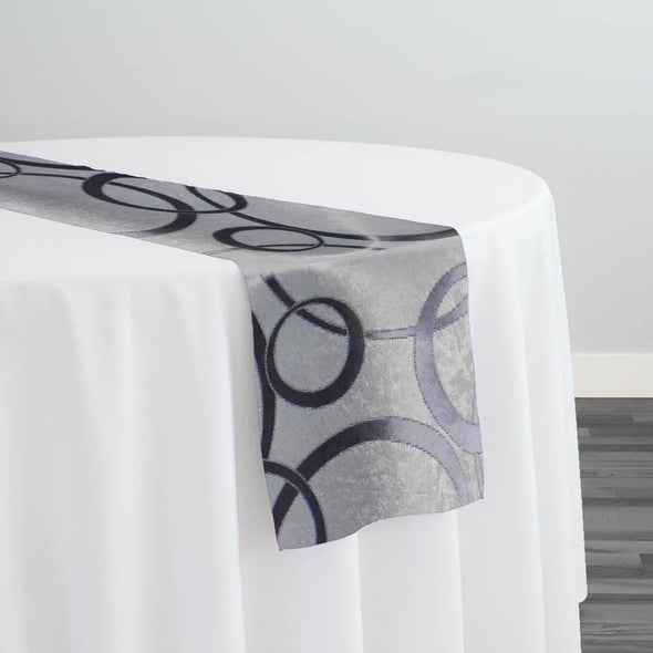 Cirque Jacquard (Reversible) Table Runner in Purple Grey