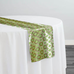 Mosaic Jacquard (Reversible) Table Runner in Green and Gold