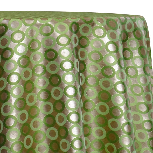 Mosaic Jacquard (Reversible) Table Linen in Green and Gold
