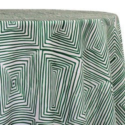 Modena (Poly Print) Table Linen in Green