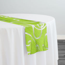 Contempo Scroll Sheer Table Runner in Green