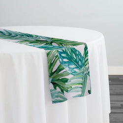 Tropical Print (Dupioni) Table Runner in Green