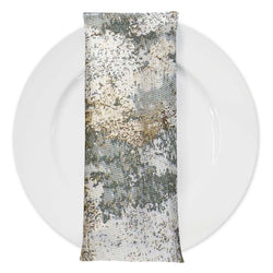 Cascade Jacquard Table Napkin in Grey and Gold