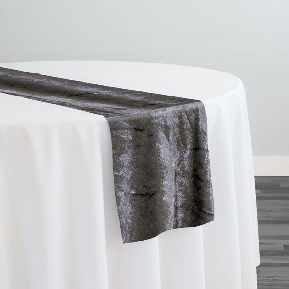 Lush Velvet Table Runner in Grey