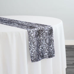 Fiori Leaf Sequins Table Runner in Grey