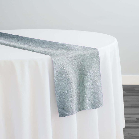 Metallic Burlap (100% Polyester) Table Runner in Grey