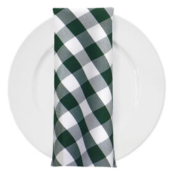 Polyester Checker (Gingham) Table Napkin in Hunter Green