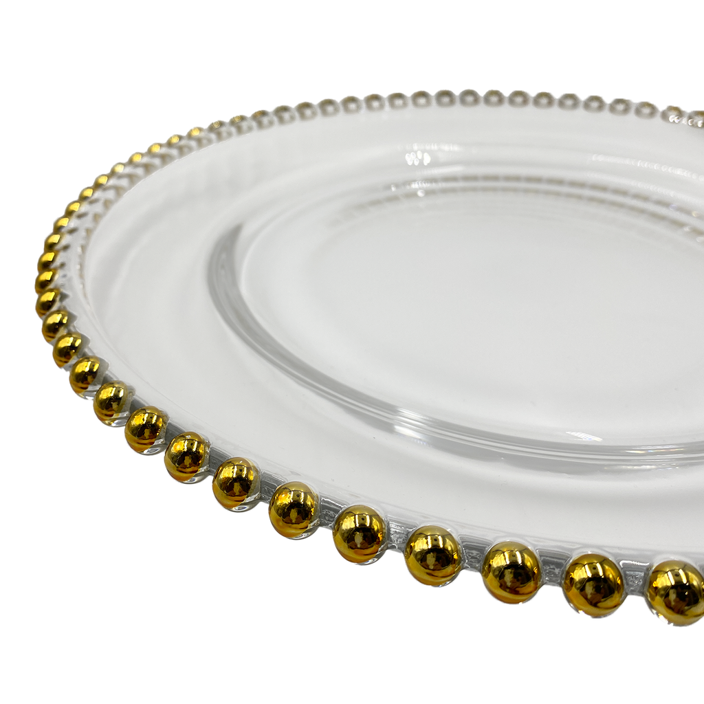 Beaded - Glass Charger Plate in Gold