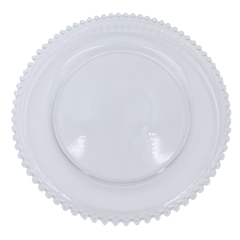 Beaded - Glass Charger Plate in Clear