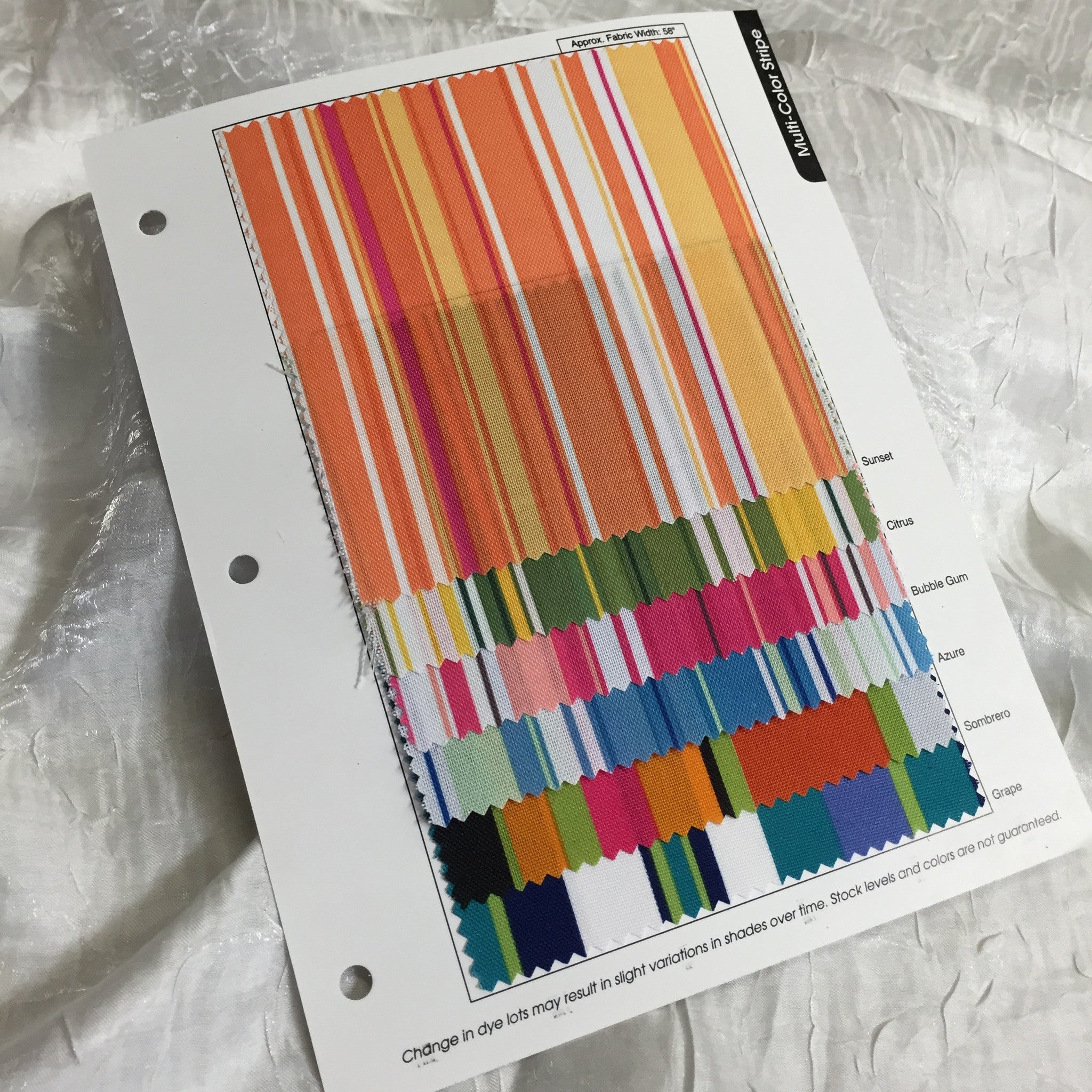 Multi-Color Stripe Color Card