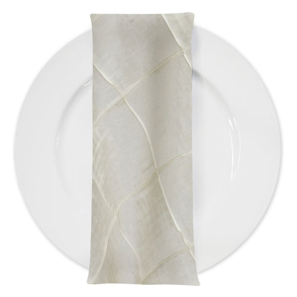 "4"" Pintuck Taffeta Table Napkin in Ivory"