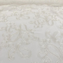 Paisley Floret Sequins Table Linen in Ivory