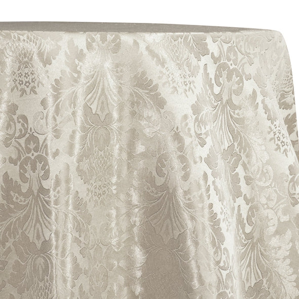 Damask Poly Table Linen in Ivory