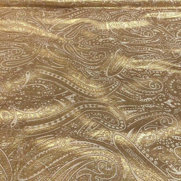 Paisley Jacquard Wholesale Fabric in Gold and Ivory