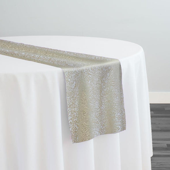 Miramar Jacquard Table Runner in Ivory and Gold