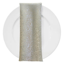 Miramar Jacquard Table Napkin in Ivory and Gold