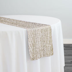 Mini Petals On Mesh Table Runner in Ivory