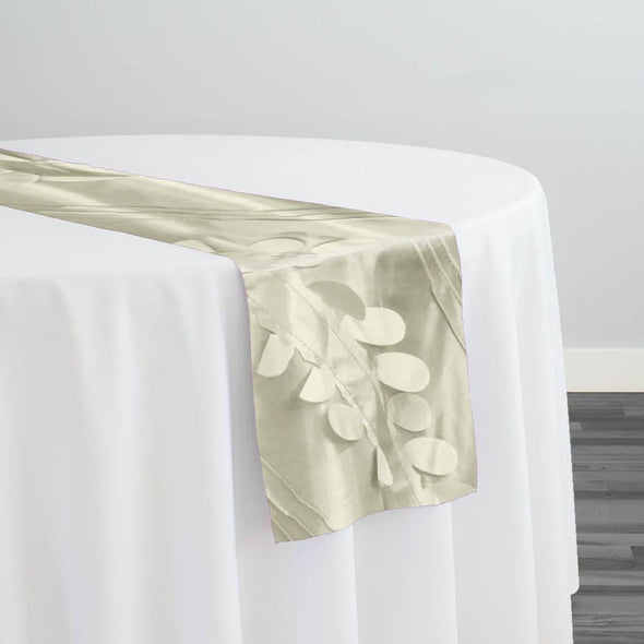 Diagonal Taffeta Table Runner in Ivory