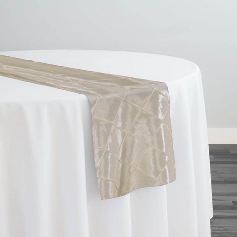 "2"" Pintuck Taffeta Table Runner in Ivory"