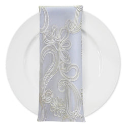 Paisley Floret Sequins (w/ Poly Lining) Table Napkin in Ivory
