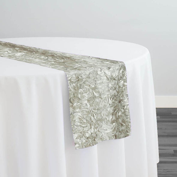 Curly Satin Table Runner in Ivory