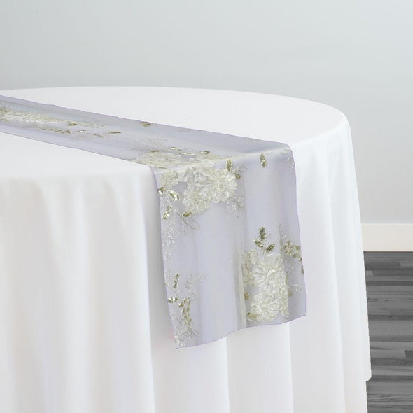 Ribbon Mesh Lace Table Runner in Ivory